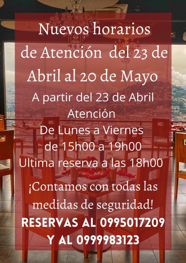 Horarios de Atención del 23 de Abril al 20 de Mayo